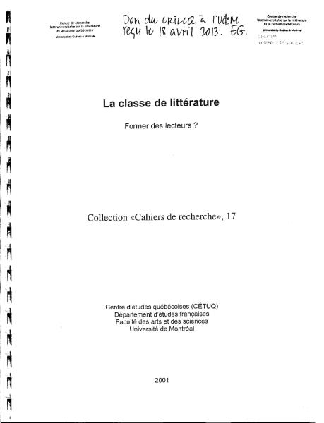 Page couverture de l'ouvrage